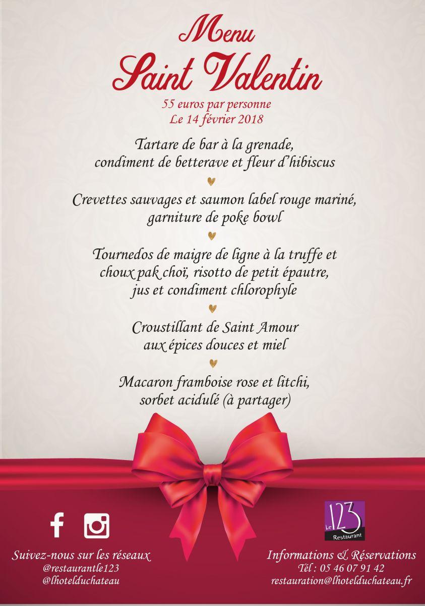 Restaurant Menu St Valentin La Rochelle